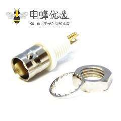 高清BNC 隔板插座焊接接线后锁穿墙50欧姆 75欧姆