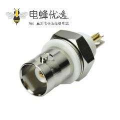 高清BNC接线压接式RF连接器母头直式前锁穿墙面板安装75欧姆镀镍