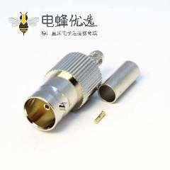 高清BNC 压接接线连接器75欧姆母头直式射频同轴电缆连接器