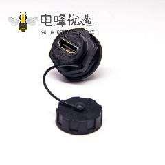 HDMI AF 防水插座19p防水等级IP67板尾部带针插座