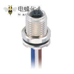 M5 4芯插座板端前锁焊线式M5母插座接75CM 26AWG线