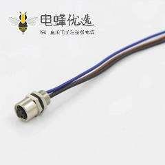 宾德M5连接器板端后锁3芯母插座传感器接线75CM 26AWG线