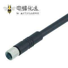 M5 4芯母插头螺纹对接式M5注塑接头接1M 26AWG线