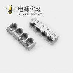 RJ11电话插座专业供应全塑4联体母座 6P2C插座1*4