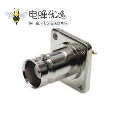 带法兰BNC连接器4孔母头前锁穿墙直式焊接式接线射频同轴连接器