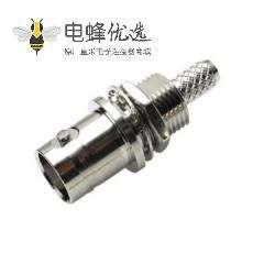 高清BNC直式连接器母头前锁穿墙压接式接线