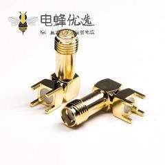 螺纹连接sma接头弯式母头穿孔式接PCB板50欧姆
