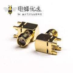 镀金弯式sma母头90度穿孔式接PCB板50欧姆