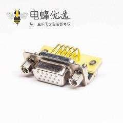 高密度15pin d-sub连接器弯式插PCB板铆锁连接