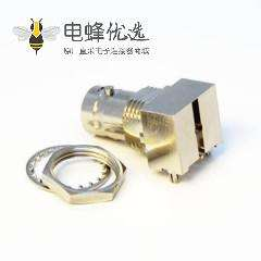 板端BNC接头90度弯式母头射频同轴连接器插孔75欧姆镀镍