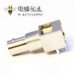 BNC板端接PCB板母头弯式穿墙连接器75欧姆镀镍