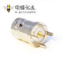 高清BNC插板接PCB板直式母头穿墙式连接器