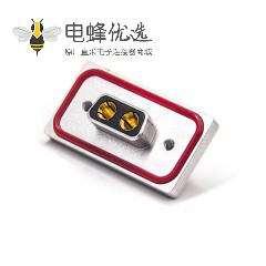 红色防水2v2 铝合金外壳防水大电流母头弯头插板带红色防水圈