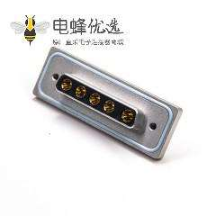 5w5母防水铝合金外壳防水大电流D-sub 5W5母头焊线带蓝色防水圈