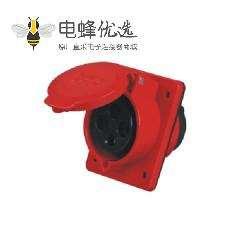 4芯 暗装斜座 16A IEC60309 工业暗装插座 45度斜插