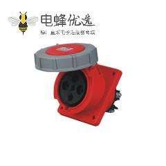 63A 4芯 工业插座 IP67防水 45度暗装斜座