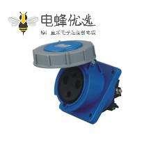 63A 3芯 工业插座 IP67防水 45度暗装斜座