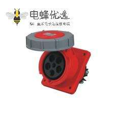 125A 5芯 工业插座 IP67防水 45度暗装斜座