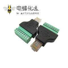 RJ45转接头转8Pin绿色端子安防监控行业DVR数字硬盘录像机专用