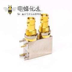 bnc接头mini母头弯式90度穿孔接PCB板