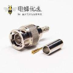mini BNC接口公头公针直式180度压接式接同轴线缆