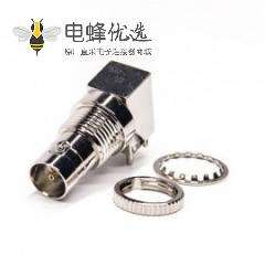mini BNC连接器母头母针弯式90度插板