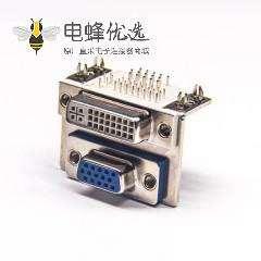 VGA 15母+DVI24+5高15.88铆合 双胞胎转接头弯头插板连接器
