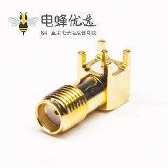 SMA弯式焊板母头全铜渡金 90度 焊板接头