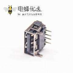 USB A母座4p直角4p pcb铁板