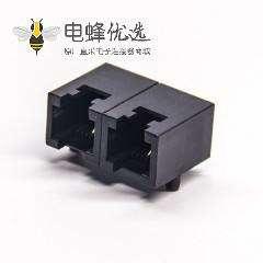 rj11双口1*2弯式6p2c模块化连接器黑色全塑外壳插板
