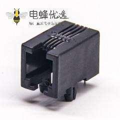 rj9插座非屏蔽式黑色塑胶外壳穿孔接PCB板