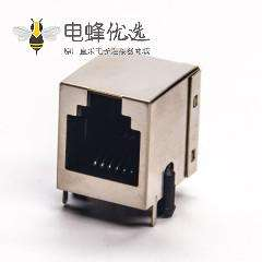 rj12插座6p6c弯式带屏蔽座子单口插PCB板不带灯