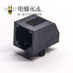 rj12母座6p6c弯式90度黑色全塑不带灯插板