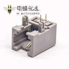 6p2c接口RJ11灰色塑胶外壳弯式接PCB板