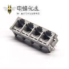 rj11模块插座单排4端口灰色塑胶外壳直插板