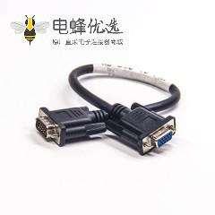 d-sub线缆DB15P 注塑公对母 15针数据双绞屏蔽线 0.5m