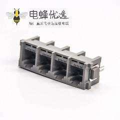 rj11座6P2C连接器1x4插板式接PCB板塑胶外壳