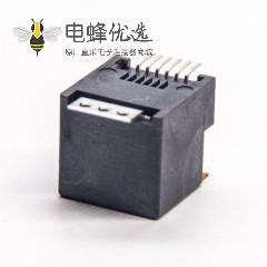 rj12接口黑色塑胶外壳直式SMT贴板接PCB板带盖