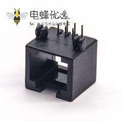 rj12 6p6c母头黑色塑胶外壳弯式网络接口不带屏蔽插板