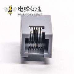 RJ11 6P2C灰色全塑模块化连接器弯式插PCB板
