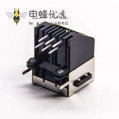 屏蔽rj11信息模块连接器6p6c弯式母座插PCB板