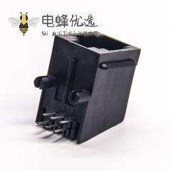 rj11全塑插座黑色非屏蔽式6p6c弯式穿孔接PCB板