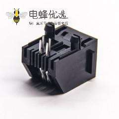 rj11 4p4c插座弯式插PCB板不带屏蔽全塑