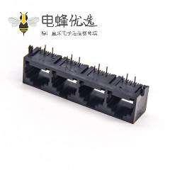 rj9插座4P4C90度弯式插PCB板非屏蔽以太网网络接口