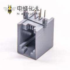 4p4c接口90度非屏蔽模块化RJ9插座弯式插板