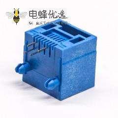 rj11母座蓝色全塑模块化插座6P4C插PCB板