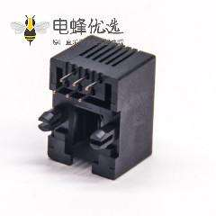 rj12 6p6c母头弯头插板不带屏蔽不带灯接PCB板