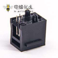 RJ9插座4P4c黑色塑胶壳不带屏蔽式以太网接口