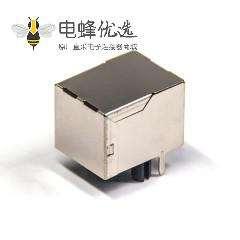 rj12网络接口弯式插座插PCB板金属外壳带屏蔽不带灯