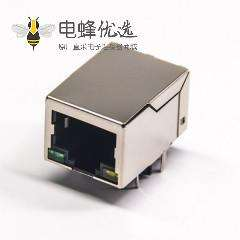 RJ45连接器弯式穿孔式单口带屏蔽带灯以太网接口
